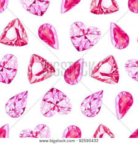 Ruby And Pink Diamonds Seamless Vector Pattern