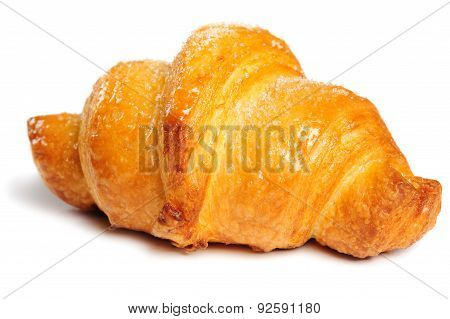 fresh crunchy croissant on white background