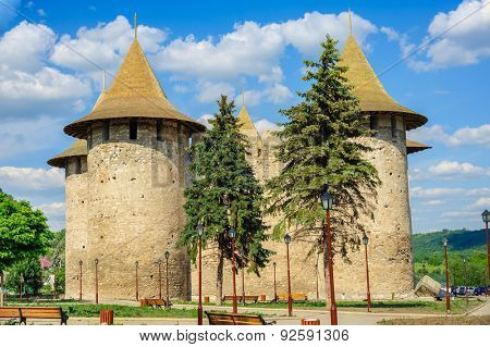 Whole view of medieval fort in Soroca, Republic of Moldova. Fort  built in 1499 by Moldavian Prince Stephen the Great. Has been renovated in 2015