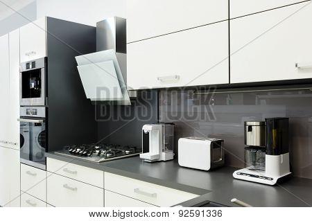 Modern luxury black and white kitchen, clean interior design