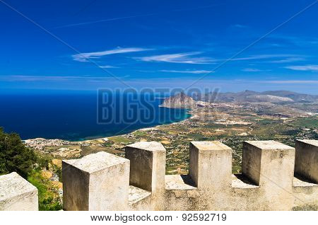 Viewpoint from Venus castle to Monte Cofano, at Erice, Sicily