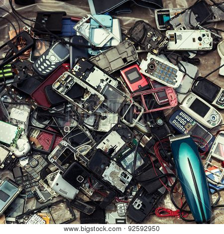 Old Mobile Phones For Sale At A Flea Market