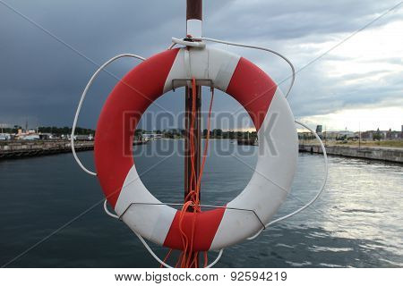 Life Buoy Near Water Canal In Harbour