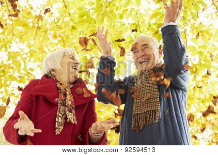Senior Couple Throwing Leaves Into Air