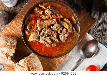 Goulash soup with paprika.