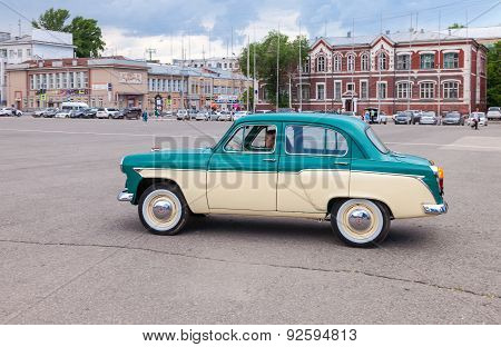 Vintage Soviet Automobile Moskvich-407 In The Historical Center Of Samara
