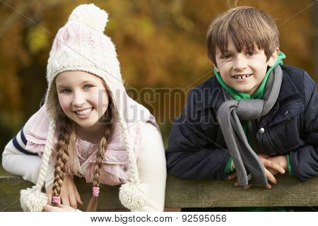 Portrait Of Two Children Leaning Over Wooden Fence