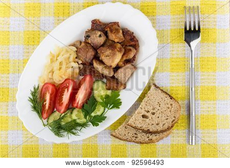 Roast Pork With Herbs And Vegetables In Platter, Bread