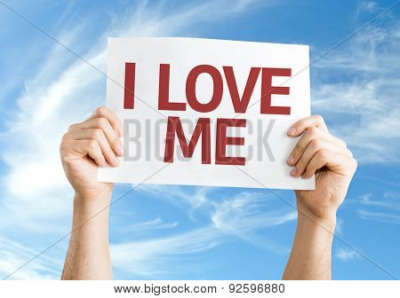 I Love Me card with sky background