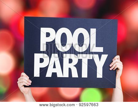 Pool Party card with bokeh background