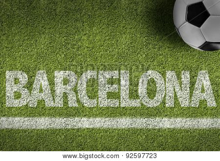 Soccer field with the text: Barcelona