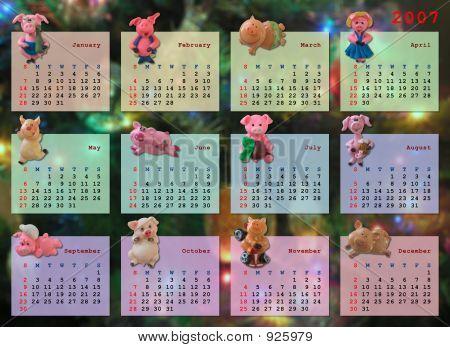 Kalender auf 2007 Jahr