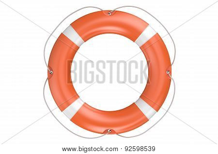 Single Orange Lifebuoy Closeup