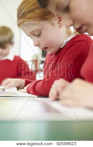 Female Pupil Reading Book At Table