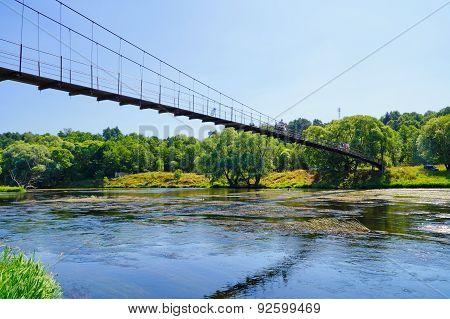 Suspension Bridge Across The River Moscow