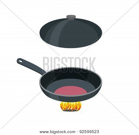 Open pan on a white background. Vector illustration. Pan stands on fire