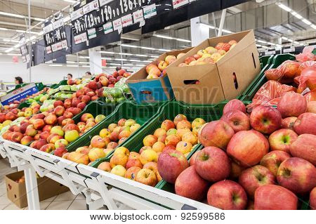 Fresh Fruits Ready For Sale In Auchan Samara Store