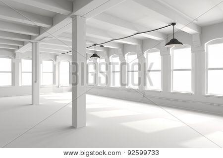 3d empty vintage interior setup