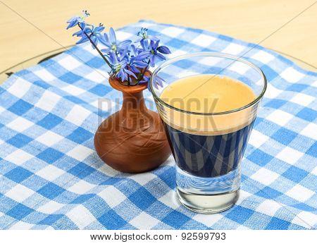Espresso With Spring Flower