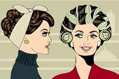 picture of hair curlers  - Woman with curlers in their hair talking with her friend vector format - JPG