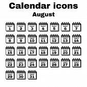 stock photo of august calendar  - The calendar icon - JPG