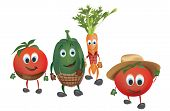 picture of animated cartoon  - Cartoon Vegetables with Clothes - JPG