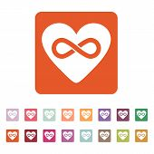 stock photo of infinity  - The heart and infinity icon - JPG