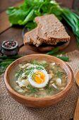pic of sorrel  - Green soup of sorrel in wooden  bowl - JPG
