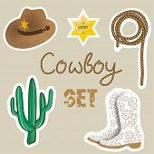 stock photo of cowboys  - Cowboy set - JPG