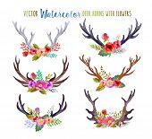 foto of deer horn  - Vector watercolor deer horns with flowers - JPG