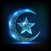 picture of muslim  - Creative glossy crescent moon with star in blue color for Muslim community festival - JPG