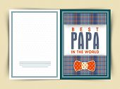pic of occasion  - Elegant greeting card design for Best Papa in the World with bow on occasion of Happy Father - JPG