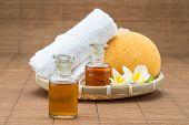 pic of bath sponge  - spa bath salt towel sponge essential oil and flower for spa health - JPG