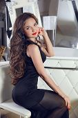 stock photo of wavy  - elegant lady - JPG