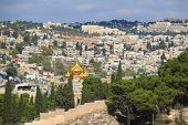 picture of church mary magdalene  -  Golden domes of an Orthodox church of Mary Magdalene - JPG