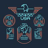 image of eagles  - Made in the USA Symbol with  American flag and eagle Set of templates emblems - JPG