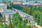 pic of tilt  - Top view of the area in the park tilt-shift