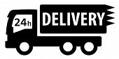 picture of free-trade  - black isolated delivery truck silhouette for 24 hour services - JPG