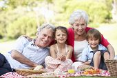 stock photo of grandparent child  - Grandparents And Grandchildren Enjoying Picnic Together - JPG