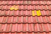 stock photo of red roof  - close up red roof tiles - JPG