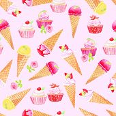 stock photo of purple rose  - Purple icecream cones and cupcakes with roses watercolor seamless vector pattern - JPG
