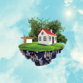 foto of red roof  - White house with red roof and sign on island in sky with clouds - JPG