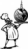 picture of serving tray  - Woodcut style image of a french chef and serving tray with an earth shaped birthday cake and candle - JPG