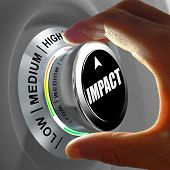 stock photo of three life  - Hand rotating a button and selecting the level of impact - JPG