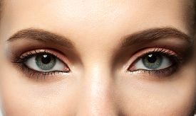 picture of eyebrows  - Open female blue eye with makeup with brown eyebrows and black lashes closeup - JPG