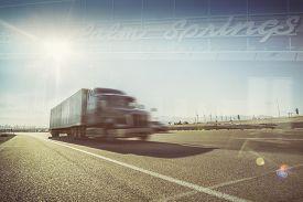 pic of trucks  - California desert trucking double exposure image  - JPG