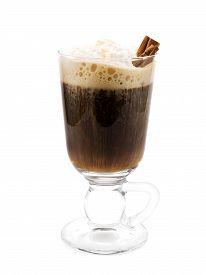 foto of irish  - Irish Coffee is made of coffee irish whiskey and light cream garnished with cinnamon sticks - JPG