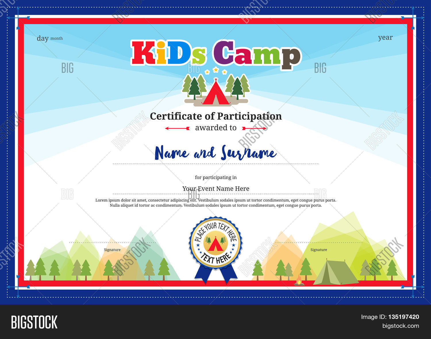 Colorful modern certificate vector photo bigstock colorful and modern certificate of participation for kids activities or kids camp with camping background xflitez Images