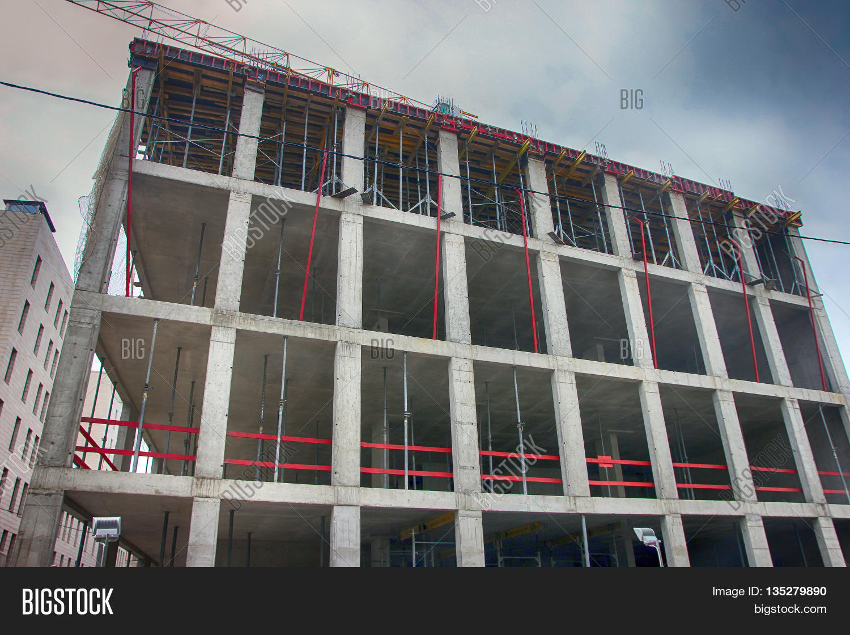 Concrete Building Under Construction With Monolithic