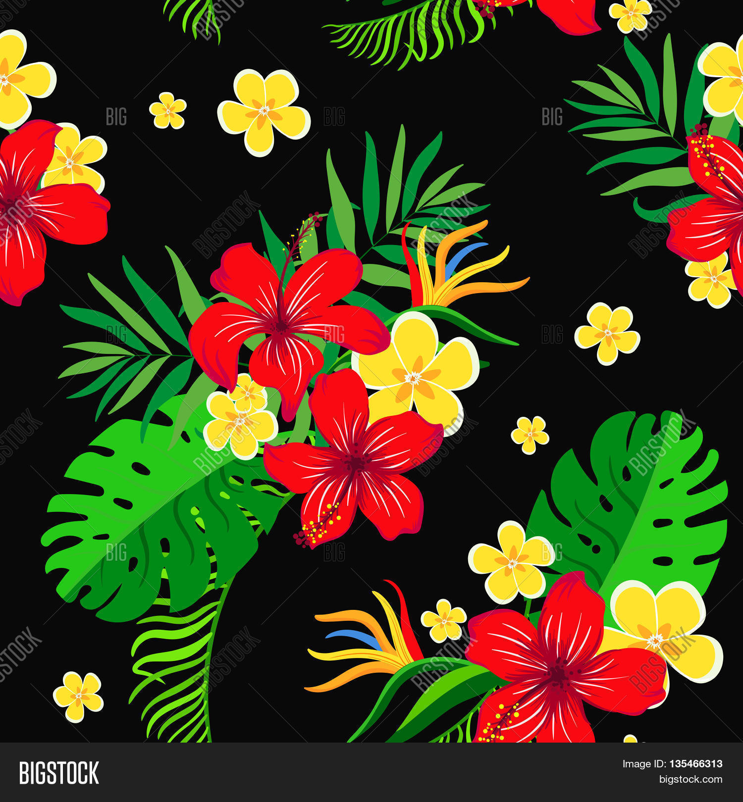 seamless background with bright exotic flowers on a black